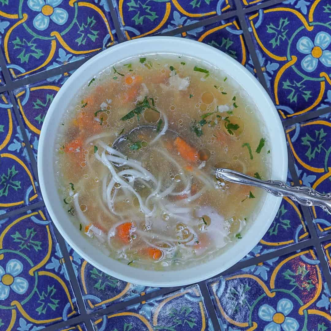 Bowl of Organic Chicken and Rice Soup