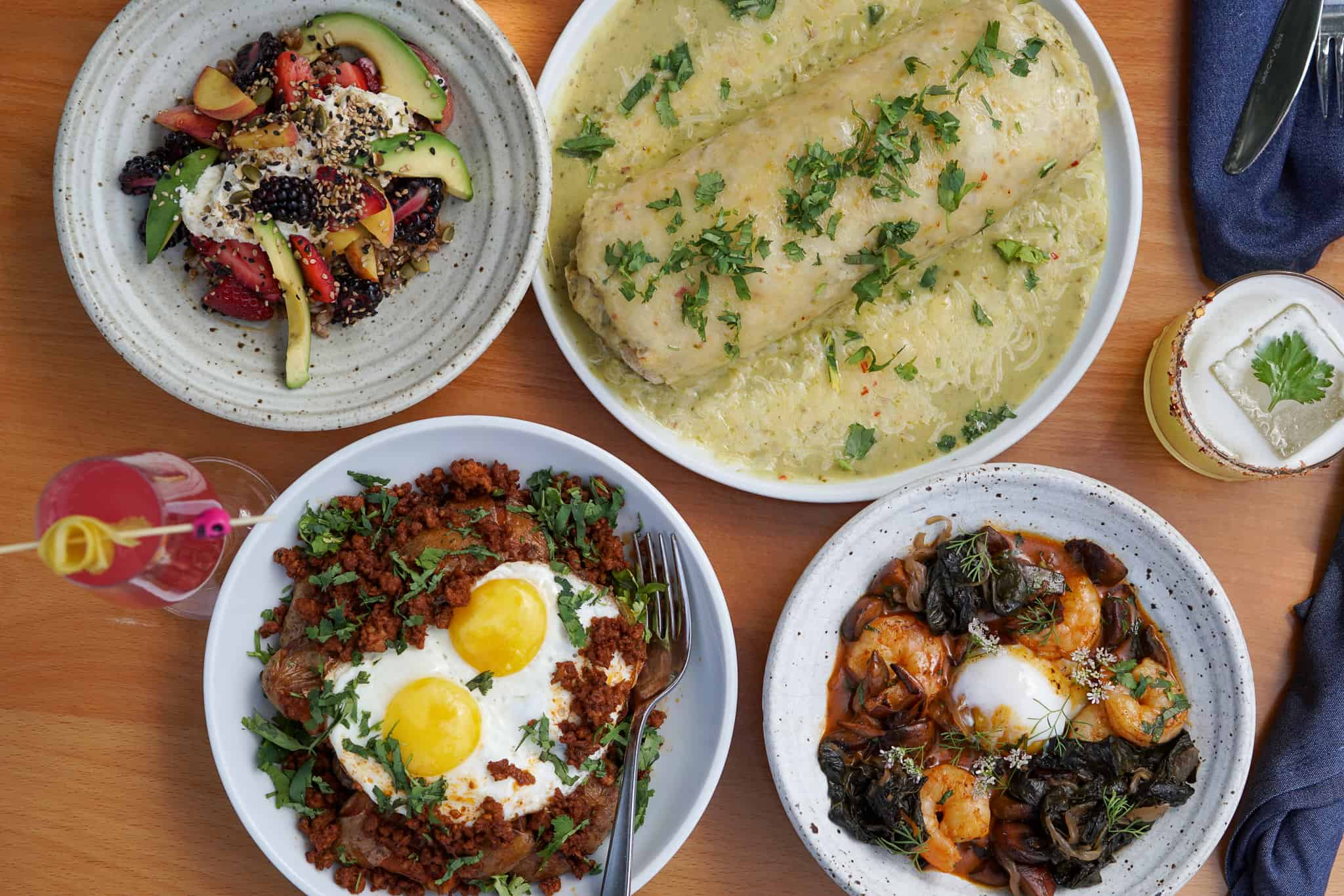Variety of brunch dishes